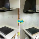 白レンガ柄の壁紙でキッチンをプチリフォーム♪お客様からのレポートです