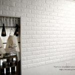 壁紙シール キッチン壁がフカフカ1cmの白レンガに変身!お客様体験報告