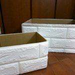 壁紙シール クッション壁シート 白いレンガの収納ボックス10分で手作り♪